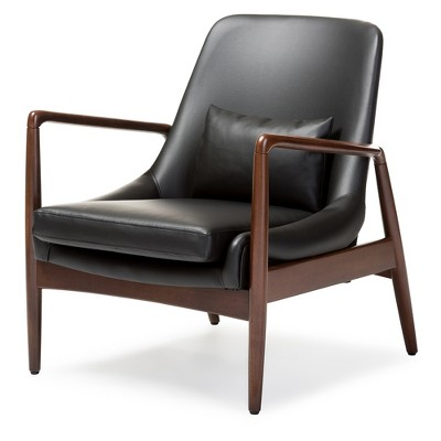 wood frame accent chairs bamboo rattan chair carter mid century modern retro faux leather upholstered leisure in walnut black baxton studio
