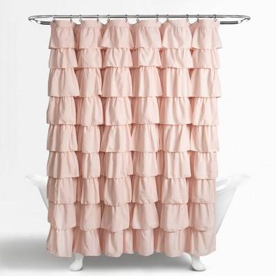 ruffle shower curtain blush pink lush decor