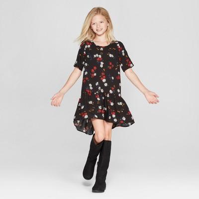 Girls' Tiered Floral Short Sleeve Dress - art class™ Black