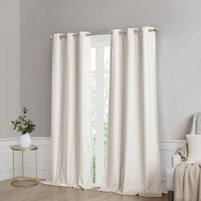 set of 2 63 x40 aberdeen faux silk blackout curtain panels ivory
