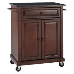 Portable Kitchen Cart Wine Rack Cabinet Solid Black Granite Top Island Crosley Target