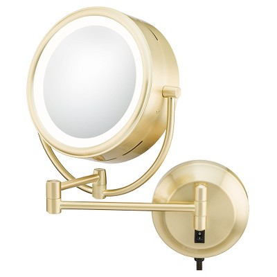 Modern DoubleSided LED Lighted Wall Magnified Makeup Bathroom Mirror Brushed Brass  Aptations