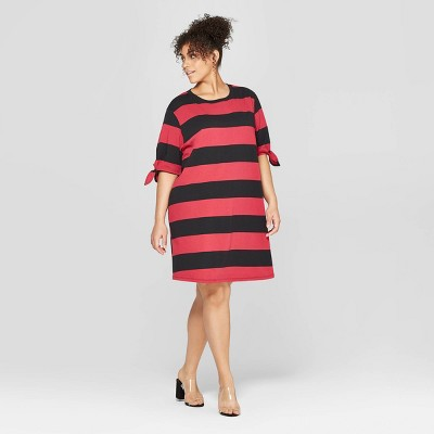 Women's Plus Size Striped Short Knotted Sleeve Crewneck T-Shirt Dress - Who What Wear™