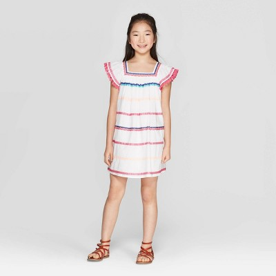 Girls' Stripe Embroidery A Line Dress - Cat & Jack™ White