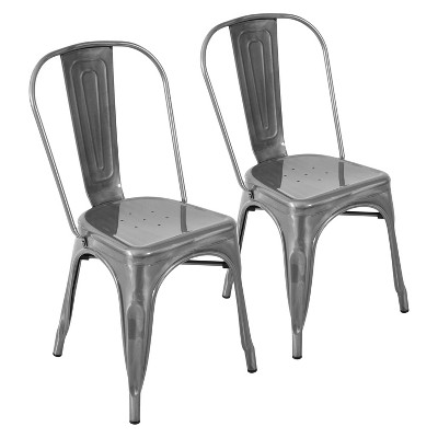 silver metal dining chairs sesame street table and canada set of 2 oregon industrial chair gloss lumisource