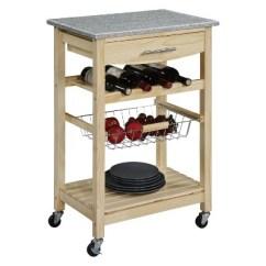 Wooden Kitchen Cart American Standard White Faucet Island Granite Top Natural Wood Linon Target