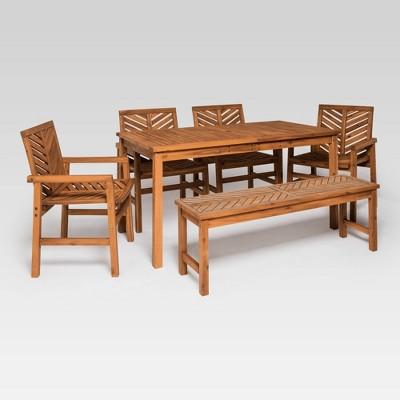 6pc chevron outdoor patio dining set brown saracina home