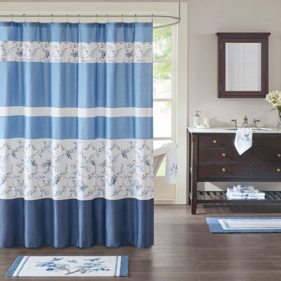Meadow Cotton Printed Shower Curtain Blue