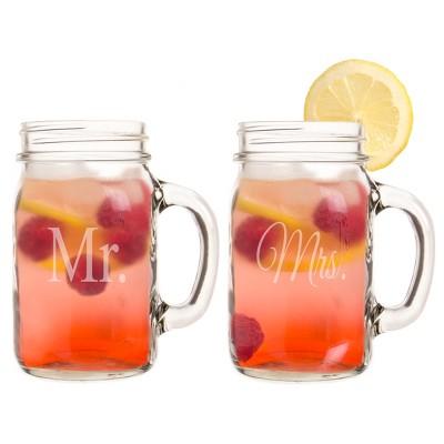2ct Mr. & Mrs. Wedding Old Fashioned Drinking Jar Set