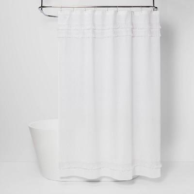 macrame fringe shower curtain cream threshold