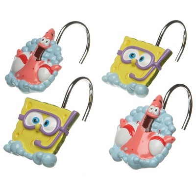 12pc nickelodeon shower curtain rings bubbly fun bathroom accessories spongebob squarepants