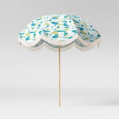 7 5 round scalloped fringe patio umbrella duraseason fabric tie dye opalhouse