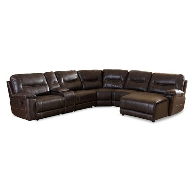 Mistral Modern and Contemporary Bonded Leather 6 - Piece Sectional with Recliners Corner Lounge Suite - Dark Brown - Baxton Studio