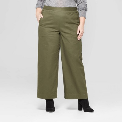 Women's Plus Size Wide Leg Crop Pants - Prologue™ Olive