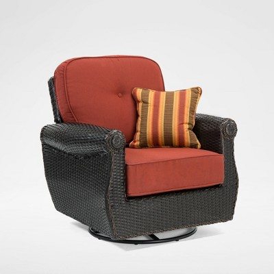 la z boy outdoor breckenridge 1pc wicker outdoor swivel rocker set with sunbrella meredian brick cushion
