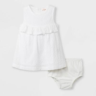 Baby Girls' Ruffle Eyelet Dress - Cat & Jack™ White