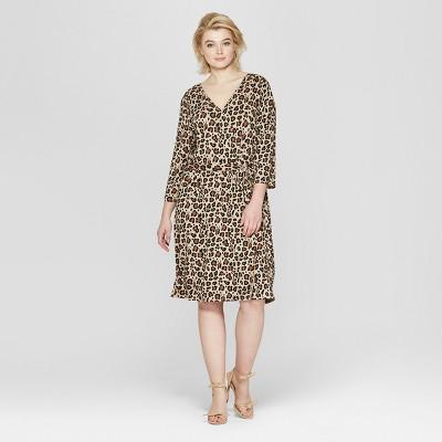 Women's Plus Size Leopard Print 3/4 Sleeve Wrap Midi Dress - Ava & Viv™ Tan