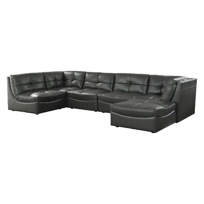 Iohomes Lazaro Contemporary Leather Gel Tufted Sectional With Ottoman Gray - HOMES: Inside + Out