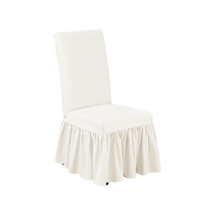 white slip covers for dining room chairs indoor folding nz essential twill ruffle chair slipcover sure fit
