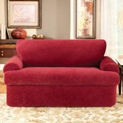 Sure Fit Stretch Pique 3 Piece T Cushion Sofa Slipcover Queen Sleeper Mattress Dimensions Loveseat Target