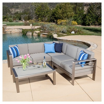 cushion sofa set sam levitz leather cape coral 4pc aluminum with cushions khaki christopher knight home target