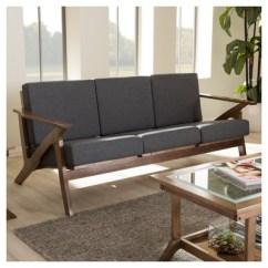 Walnut Furniture Living Room Flooring Options Cayla Mid Century Modern Fabric 3 Seater Sofa Gray 1 More