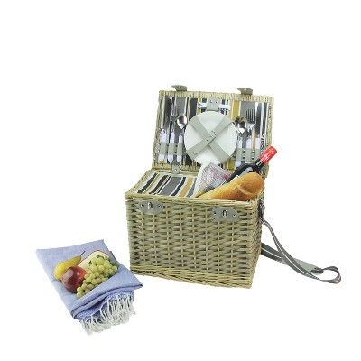 """Northlight 15.25"""" Hand Woven Natural Willow Insulated 4-Person Picnic Basket and Accessory Set - Gray"""