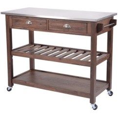 Wire Kitchen Cart Folding Table Sonoma With Stainless Steel Top Chestnut Brush Boraam