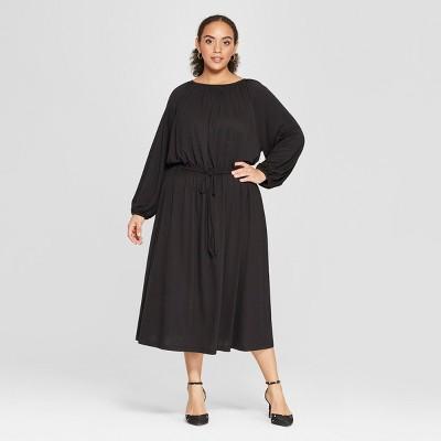 Women's Plus Size Long Sleeve Maxi Knit Dress - Who What Wear™ Black