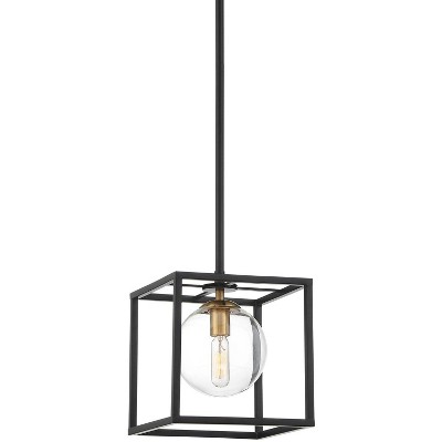 possini euro design black cage pendant light 8 wide modern clear glass orb square open shade fixture kitchen island dining room
