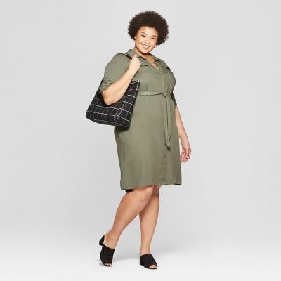 Women's Plus Size Long Sleeve Collared Shirt Dress - Ava & Viv™