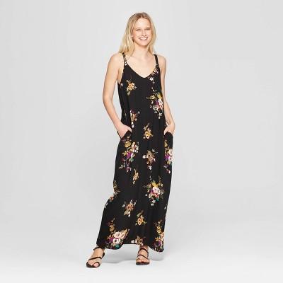 Women's Floral Print V-Neck Strappy Sack Maxi Dress - Xhilaration™ Black/Olivine