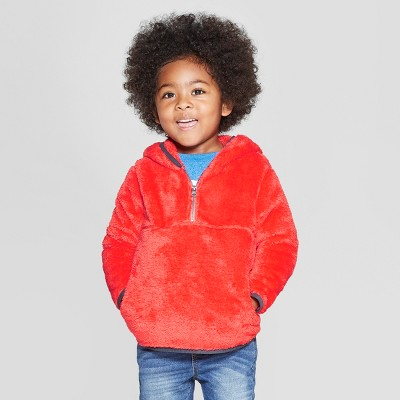 Toddler Boys' Teddy Bear Fleece Hoodie - Cat & Jack™ Dark Orange