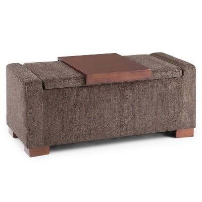 42 crosby lift top storage ottoman deep umber brown fabric wyndenhall
