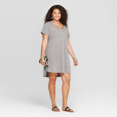 Women's Plus Size Short Sleeve Scoop Neck T-Shirt Dress - Universal Thread™ Gray