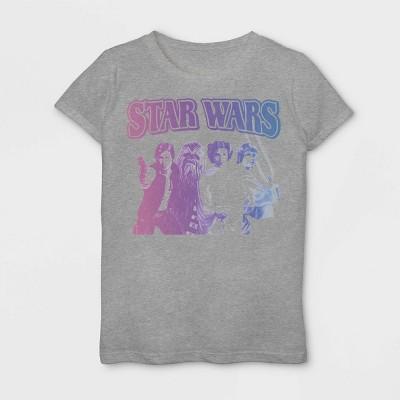 Girls' Star Wars Vintage Group Short Sleeve T-Shirt - Heather Gray