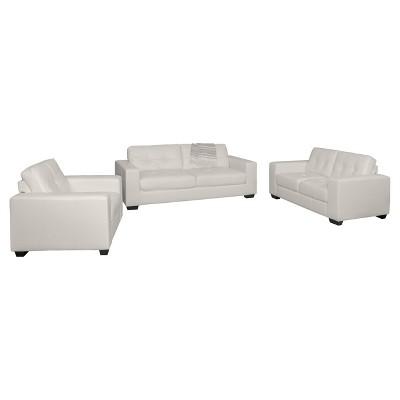 3pc Tufted Seat & Backrest Bonded Leather Sofa Set - CorLiving