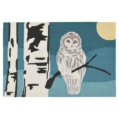 Blue Frontporch Snowy Owl Night Indoor/Outdoor Rug - Liora Manne