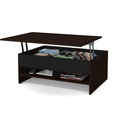 37 small space lift top storage coffee table dark brown black bestar