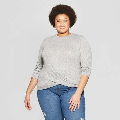 Women's Plus Size Long Sleeve Scoop Neck Twisted Knit Top - Ava & Viv™