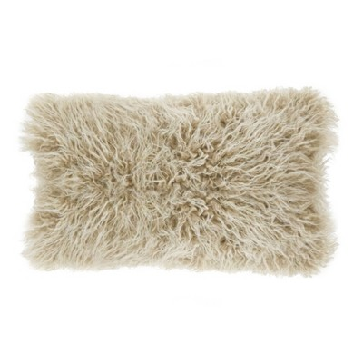 12 x20 poly filled faux mongolian fur pillow oatmeal saro lifestyle