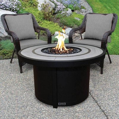 round aluminum propane and natural gas patio fire table sunbeam