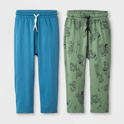 Toddler Boys' French Terry 2pk Slouch Fit Printed Joggers - Cat & Jack™ Olive/Turquoise