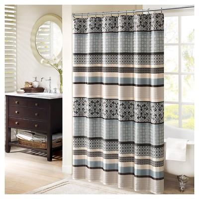 cambridge mosaic stripe shower curtain blue