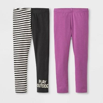 Toddler Girls' 2pk Leggings - Cat & Jack™ Black/Purple