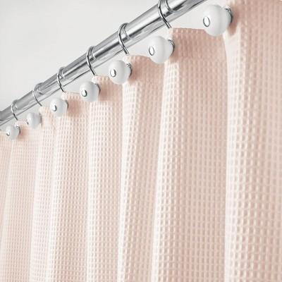 mdesign waffle weave fabric shower curtain 72 long blush pink