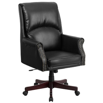 black leather office chair high back pink student desk pillow executive swivel flash furniture target
