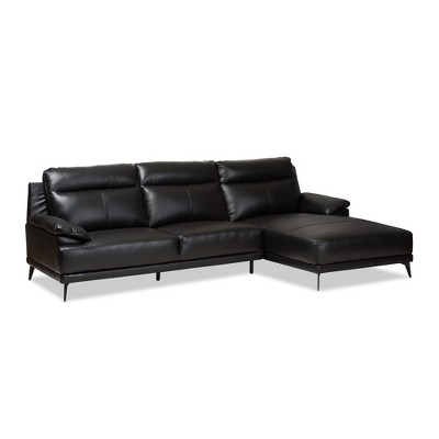 Rabbie Modern and Contemporary Leather Right Facing Chaise 2pc Sectional Sofa - Baxton Studio