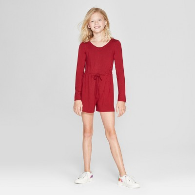 Girls' Ruched Long Sleeve Romper - art class™ Red