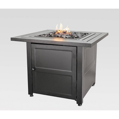 30 outdoor patio gas fire pit with steel mantel gray endless summer